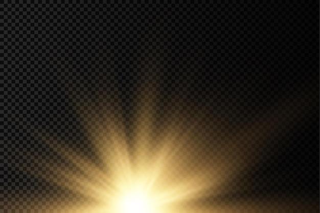 Sun explosion jaune lueur lumières rayons du soleil flare effet spécial magie scintille étoile dorée