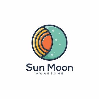 Sun moon logo template vecteur
