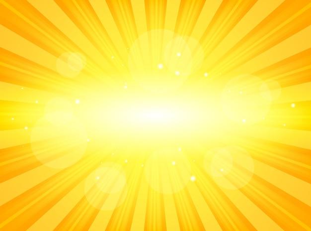 Sunburst jaune vif avec des rayons lumineux de lumière abstrait