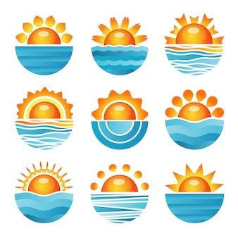 Sunset icons set
