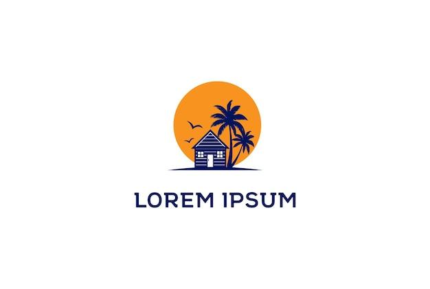 Sunset palm house cabin cottage resort hotel inn real estate summer travel logo design vector