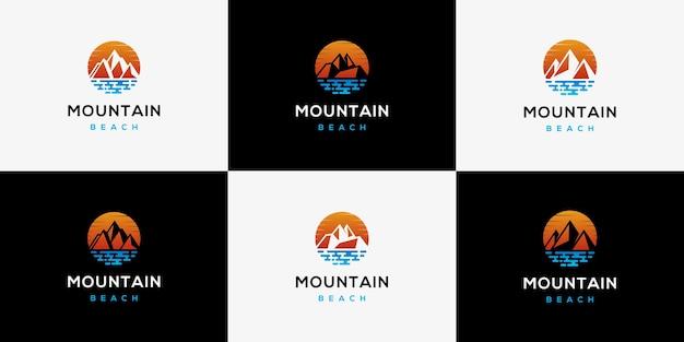 Sunset sunrise logo mount beach paysage