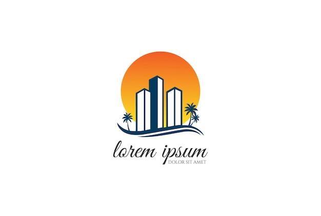 Sunset sunrise urban city immeuble d'appartements graphique d'affaires immobilier avec vecteur de conception de logo palm beach