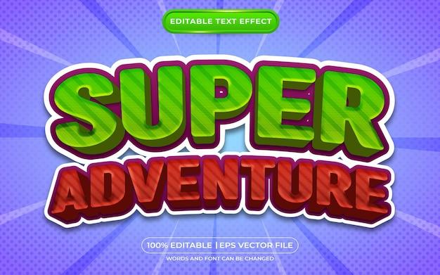 Super aventure style de dessin animé effet de texte modifiable 3d