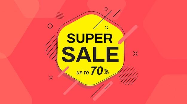 Super bannière publicitaire, jusqu'à 70% de réduction. conception de modèle de bannière de vente.