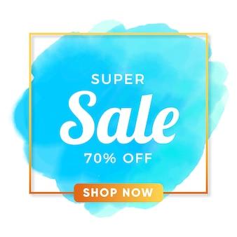 Super bannière de vente avec aquarelle vecteur gratuit