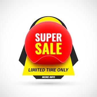 Super bannière de vente. autocollant. illustration.