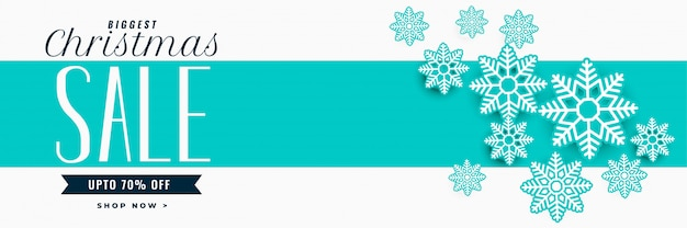 Super bannière de vente de noël avec une décoration de flocons de neige