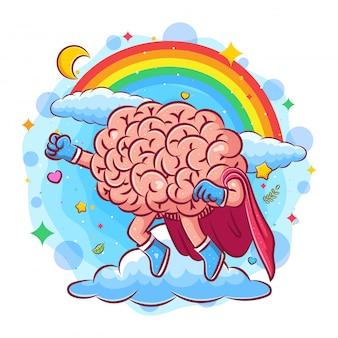 Le super cerveau vole dans le ciel sous l'arc en ciel de l'illustration