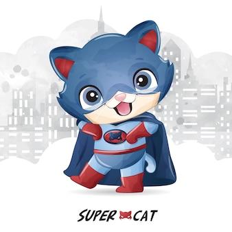 Super chat mignon avec illustration aquarelle