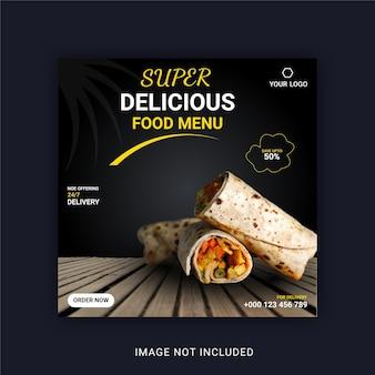 Super delicious food menu bannière instagram modèle de publication sur les médias sociaux