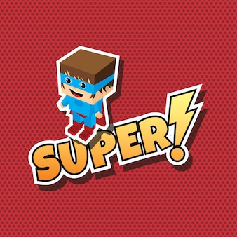 Super dessin animé de super-héros