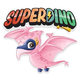 Super Dinosaure Mignon Avec Illustration Aquarelle Vecteur Premium
