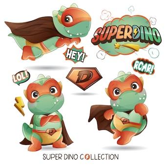 Super dinosaure mignon avec illustration aquarelle