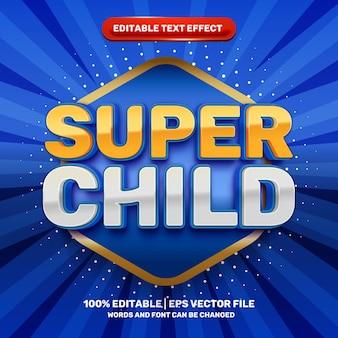 Super enfant enfants dessin animé héros comique effet de texte modifiable en 3d