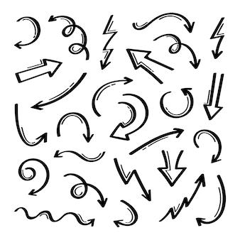 Super ensemble de flèches dessinées à la main de forme différente. graphique.