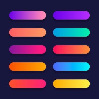 Super ensemble de style dégradé de bouton avec ombre pour site web, interface utilisateur, application mobile.