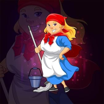 La super femme de ménage tient la vadrouille pour la conception du logo esport de l'illustration