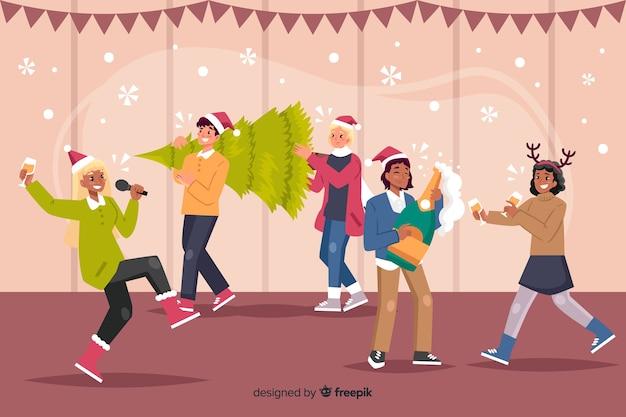 Super fête de noël avec caricature de karaoké et cadeaux