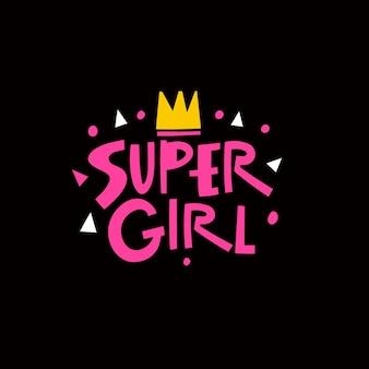 Super girl texte rose expression typographie moderne lettrage vector illustration