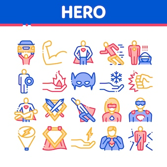 Super hero collection elements icons set