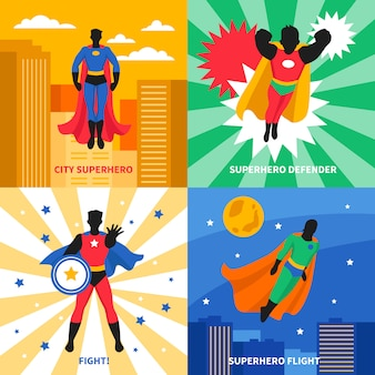 Super-héros 2x2 design concept