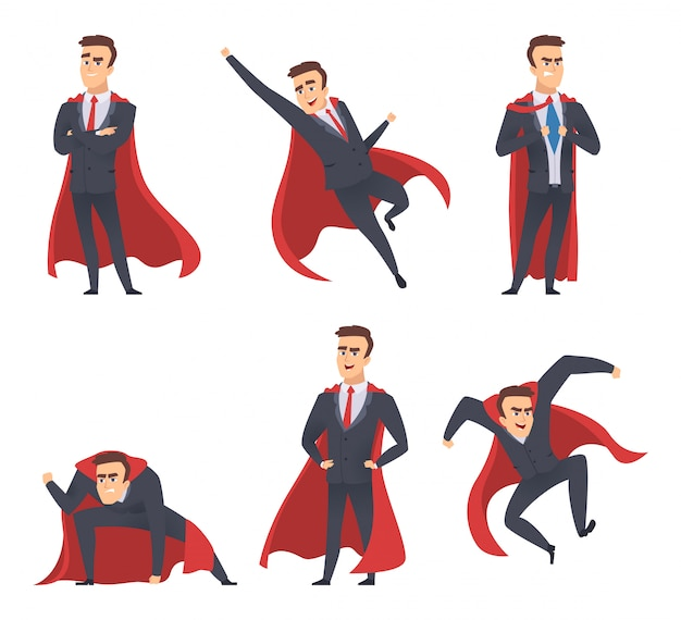 Super-héros d'affaires. gestionnaires de bureau directeurs travailleurs cape rouge debout battant action pose des personnages de super-héros