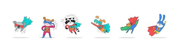 Super-héros animaux mignons dessinés à la main