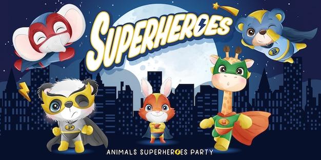 Super-héros animaux mignons avec illustration aquarelle