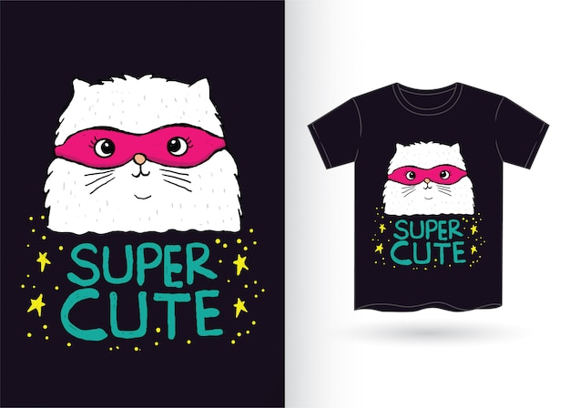 Super-héros de chat dessiné à la main pour t-shirt
