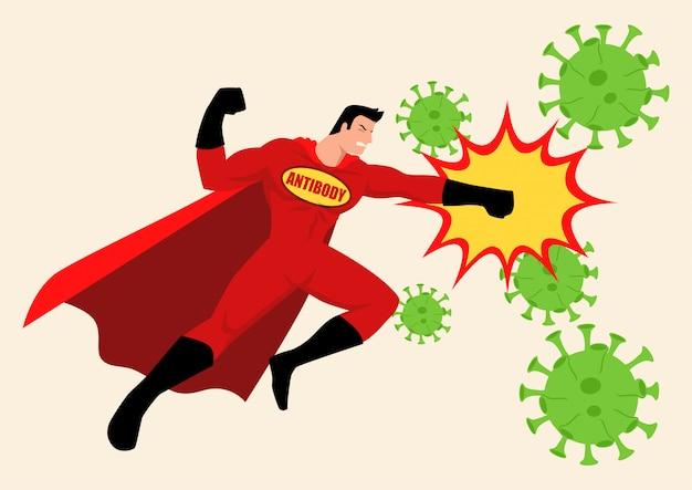 Super-héros combattant les virus
