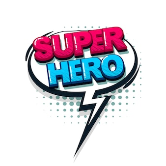 Super héros couleur bande dessinée texte collection effets sonores style pop art bulle de dialogue vecteur