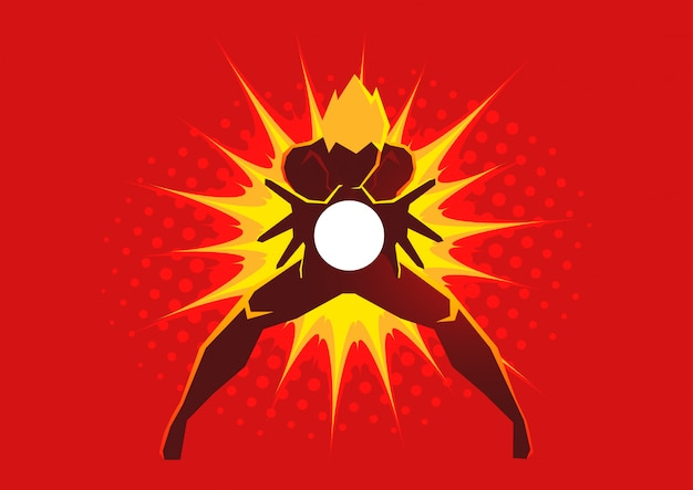 Super-héros créant une explosion d'énergie entre ses mains