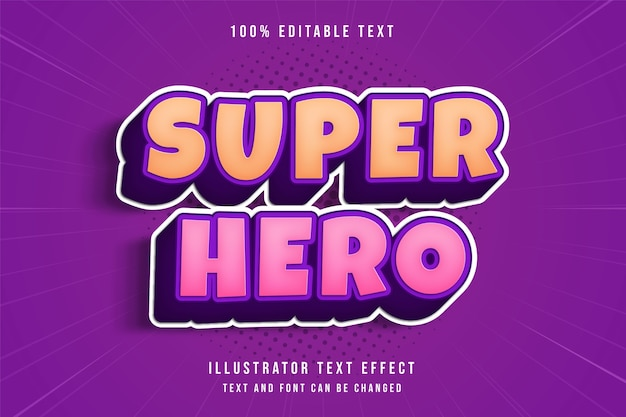 Super-héros, effet de texte modifiable 3d dégradé jaune style de texte ombre comique violet rose