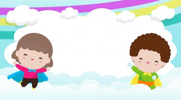 Super-héros enfants publicité fond, modèle de brochure publicitaire, votre texte, mignon petit super héros enfants et cadre, héros enfant et copie espace isolé sur fond illustration