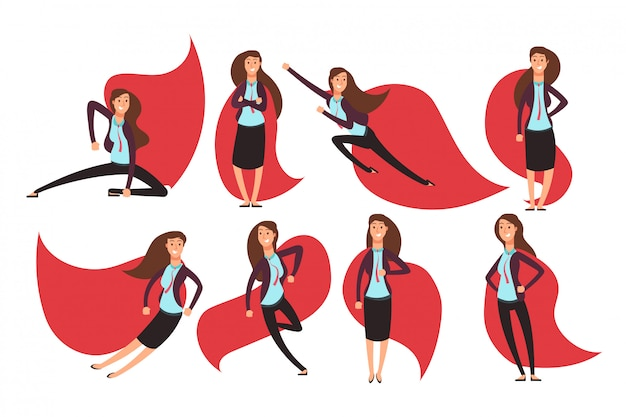 Super-héros de femme d'affaires de bande dessinée dans une cape rouge. différentes actions et poses jeu de caractères de superhéros de vecteur