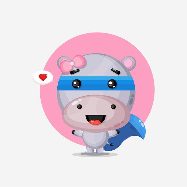 Super-héros hippopotame mignon