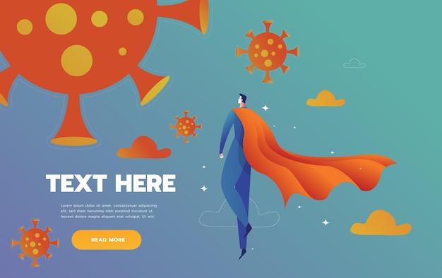 Les super-héros médecins de covid combattent le monstre pandémique du virus corona pour protéger un patientmédecin en pp...