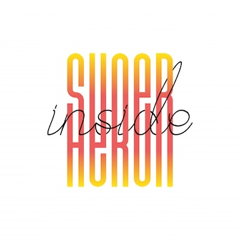 Super héros moderne à l'intérieur des lettres