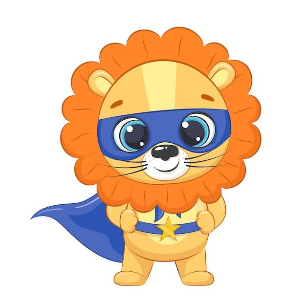 Super-héros petit lion pour les enfants. illustration vectorielle de dessin animé.