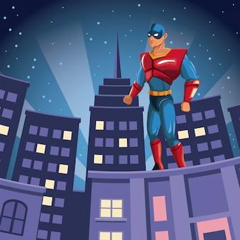 Super-héros, regarder, sur, bâtiment, nuit, vue ville