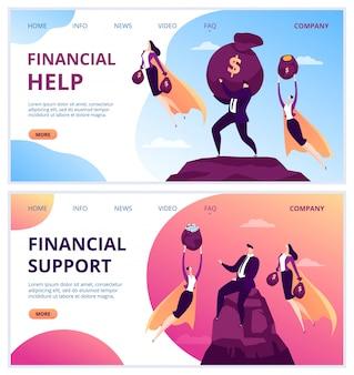 Super-héros de travail entreprise en costume, personnage de gestionnaire de personnes homme femme succès, illustration. caractère homme d'affaires apporter un soutien financier, aider avec de l'argent à la montagne.