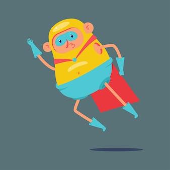 Super-héros volant drôle isolé sur gris