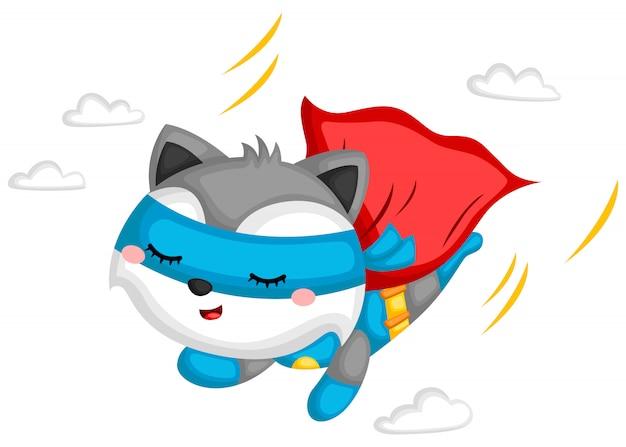 Super-héros volant de raton laveur
