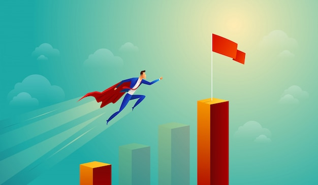 Super homme d'affaires dans le graphique à barres saut rouge