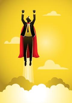 Super homme d'affaires vole au concept de super héros d'homme d'affaires de succès