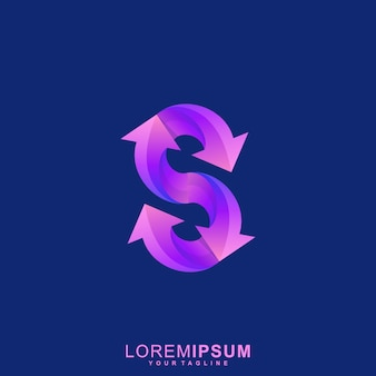 Super lettre s flèche logo premium