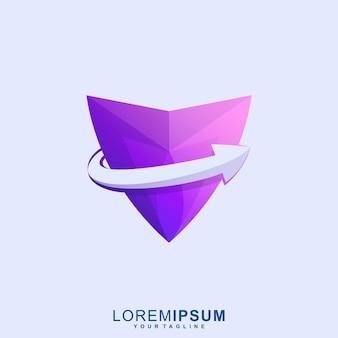 Super logo premium de bouclier de flèche