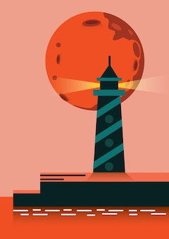 Super lune montant sur le phare. éléments de conception plats. illustration vectorielle