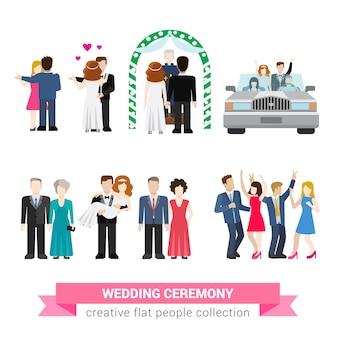 Super mariage cérémonie mariage style plat ensemble de personnes. les nouveaux mariés épouse mari mariée marié invités de danse garçon d'honneur mariée usher lune de miel. collection d'illustrations conceptuelles créatives